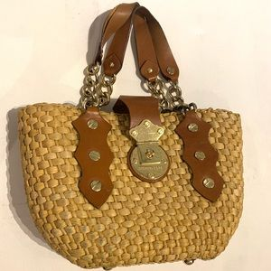 Michael Kors pre owned used purse basket leather